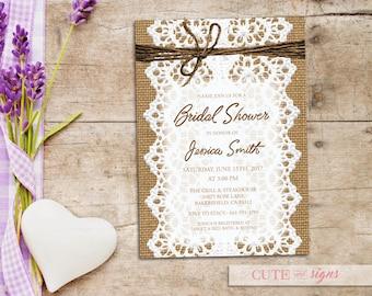 Bridal Shower Burlap Lace Invitation, Rustic Country Shower Invite Digital Download