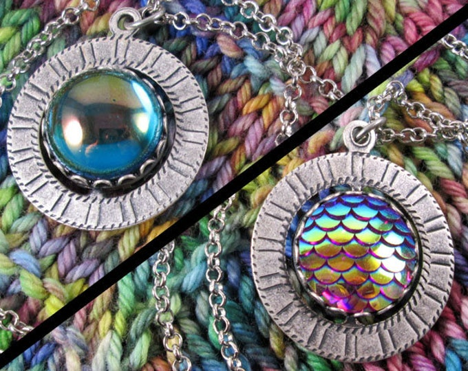 Spinner Pendant Necklace - Silver, Pink & Teal Gems - Stim Jewelry