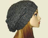 GRAY SLOUCHY Hat Crochet Knit Hat Dark Charcoal Grey Slouchie Beanie Slouch Hat Women Teen Bestseller Gift Idea Dark Gray Gift Idea