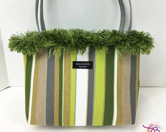 shades of green striped BAGOLITA with black gingham liner