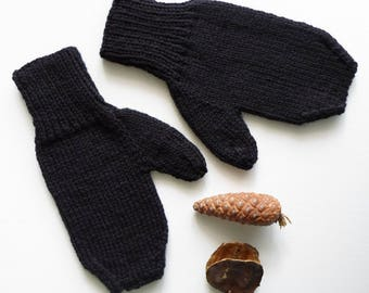 Black Wool Mittens Adult Size Winter Accessories Ready to Ship