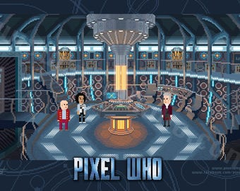 Pixel (8 bit) 12th Doctor SPECIAL EDITION Console Room Print