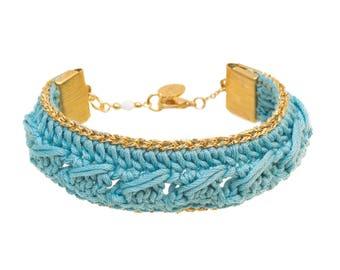 Hippie Chic Bohemian blue Celadon KSENA hook bracelet