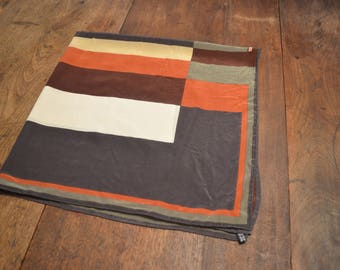 Vintage 1970s pristine Mid Century Italian silk color block scarf 34 square fall autumn