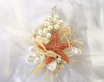 beach wedding corsage, starfish corsage, coastal corsage, nautical corsage, coastal wedding corsage, beach corsage, mother of bride corsage