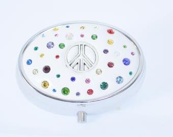 Tie Dye Peace Jeweled Pill Box