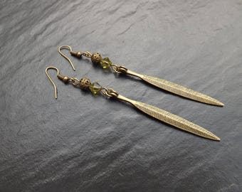 """Jenya"" swarovski crystal Tupis and 8cm long brass earrings"