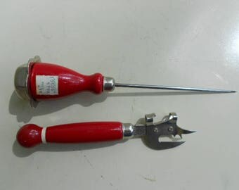 Vintage Red Handle Ice Pick and Can Opener