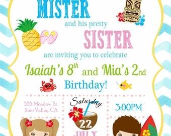 Digital Brother and Sister Luau Birthday Invitation