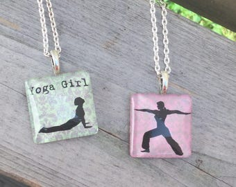 Yoga Necklace, Yoga Gift, Gift for Yoga Lover, Yoga Jewelry, Warrior Pose Pendant, Yoga Girl Gift, Cobra Pose Pendant, Yoga Pendant