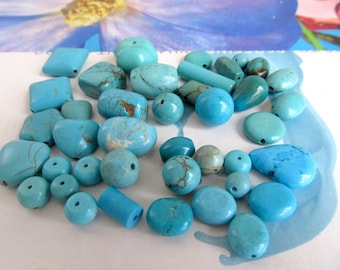 Mix Shape Turquoise Howlite Beads, Blue Magnesite Pendants, Barrel and Round Stone, Magnesite Heart, Turquoise Coin, Howlite Tube, 20 Pcs