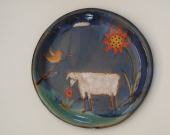 """SHEEP PLATE,  8"""" dia lunch plate,  Lamb Plate,  Snack Plate, Farm Animal Plate, Bread Plate"""