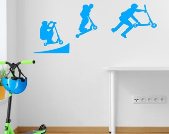 Stunt Scooter Ramp Jump Kids Style Children Street Wall Stickers Decals A107