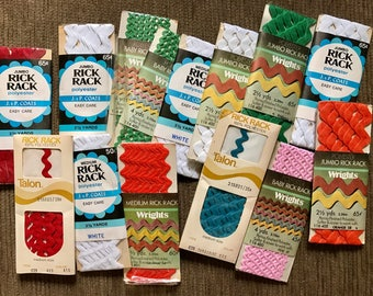 14 packages of vintage Rick Rack! Talon, Wrights, Coats - jumbo, medium, baby
