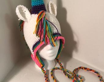 Rainbow Unicorn Flap Eared Hat