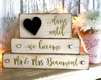 Wedding countdown block Mr & Mrs Mr and Mr Mrs and Mrs countdown engagement gift days until weeks until rustic wooden plaque block sign