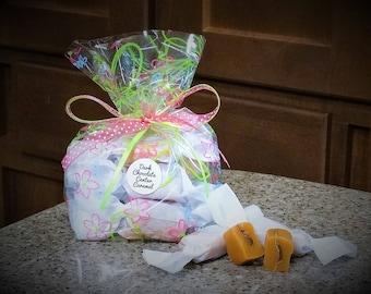 1/2 lb. Dark CHOCOLATE CENTER SALTED Caramels Gift Bag - Proceeds help pay medical bills for brothers Karson and Kolton