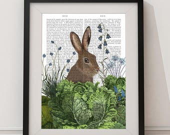 Woodland nursery -  Cabbage patch rabbit 2 - Woodland animals Woodland nursery art Bunny nursery decor Bunny nursery art Nursery rabbit