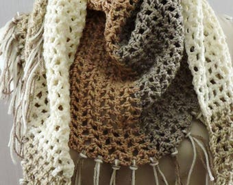 Crochet Triangle Scarf, Crochet Wrap, Women's Scarf, Winter Accessories, Triangle Shawl
