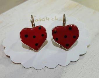 Earrings red fusing glass with polka dots, heart Stud Earrings