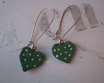 Glass fusing dark green heart earrings, large hook finish copper