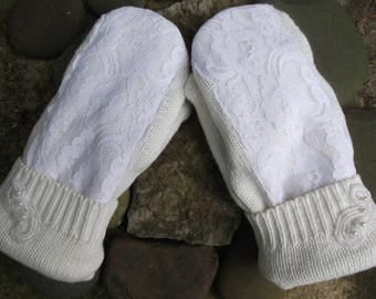 Sweater Mittens, Bridal winter wedding mitten white lace overlay on ivory background,  made from upcycled recycled sweaters