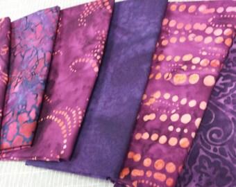 Batik textiles fat 1/8 bundle of 6