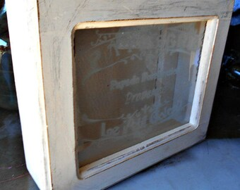 French Country Style Tabletop Display Case with Etched Glass