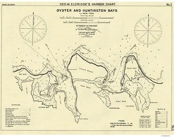 Oyster to Huntington Bays 1908 Harbor Nautical Chart - New York - Eldridge 3 - Reprint