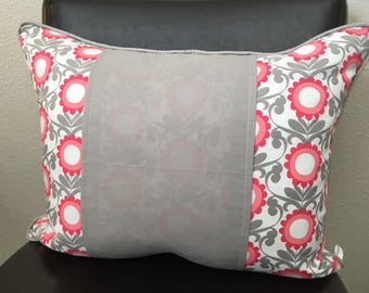 Pink Flower Pillow Cover 16 x 20 Girl Room Decor Lumbar Pillow Cover Pink Gray Floral Pillow Cover Monogram Pillow Cover