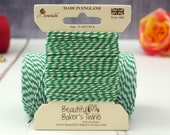 Green Baker's Twine 10m - Emerald Green and White Twine - Luxury Twine by Everlasto - Christmas Baker's Twine - Green Butcher's Twine