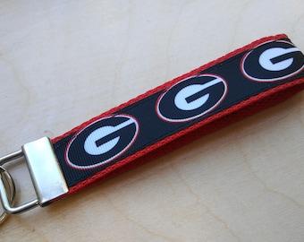 Georgia Bulldogs Key fob  Bulldogs keychain Georgia Bulldogs Football Bulldogs Wristlet