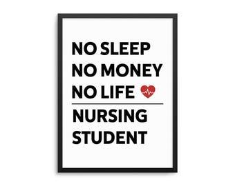 Nursing Student Poster, Funny Nursing Wall Art, Nursing School Art Print, Nurse Art, Dorm Decor, Nursing Student Gift, Funny Nurse Poster