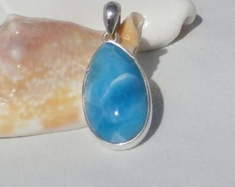 Larimar Stone Pendant  In Sterling Silver 925, Hadmade Jewelry