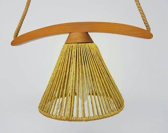 Extraordinary Mid Century Lamp Made of Teak Wood and Jute - 1960s  pendant lamp - Danish Design - Scandinavian Design