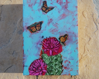 Monarch butterfly Land in the Sand Acrylic & resin on birch panel
