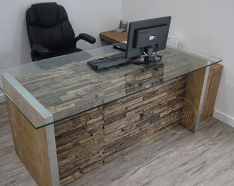 Modern Rustic Office Desk. Computer desk. Reclaimed Rail Wood Furniture. Office  Furniture.