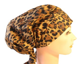 Scrub Hat Cap Chemo Bad Hair Day Hat  European BOHO Large Animal Print 2nd Item Ships FREE