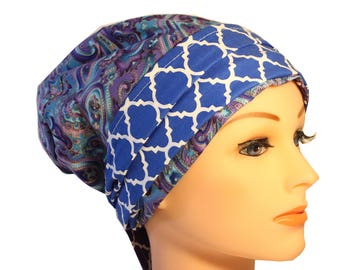 Scrub Hat Cap Chemo Bad Hair Day Hat  European BOHO Banded Pixie Tie Back Purple Paisley  Blue Band 2nd Item Ships FREE