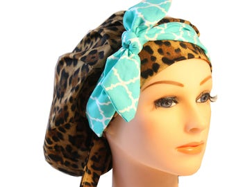 Scrub Cap Surgical Medical Chemo Chef Vet Nurse Hat Banded Bouffant Tie Back Animal Leopard Print Mint Quaterfoil Tie 2nd Item Ships FREE