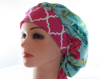 Scrub Cap Surgical Hat Chef  Dentist Hat Tie Back Bouffant Pink Quatrefoil Hibiscus Birds2nd Item Ships FREE