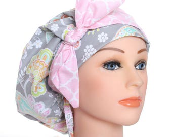 Scrub Cap Surgical Medical Chemo Chef  Hat Banded Bouffant Tie Back Lacy Grey Pink Floral Pastel Pink Chevron Tie 2nd Item Ships FREE