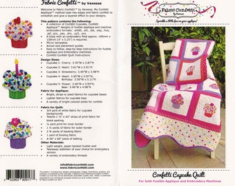 Fabric Confetti Quilting Pattern CONFETTI CUPCAKE QUILT for Fusible Applique and Embroidery Machines Includes C.D. by Vanessa