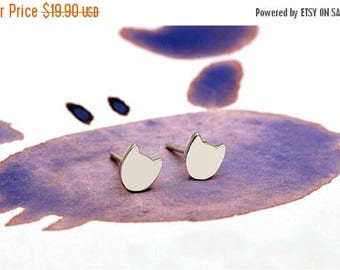 ON SALE Tiny cat sterling silver / gold vermeil / rose gold plated earrings - Delicate simple everyday jewelry