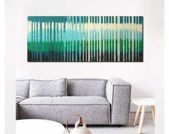 Acrylic Painting  Bright Blue lines j38, Original Hand Made, Canvas Wall art, Abstract Painting, Modern Art, Ronald Hunter artist