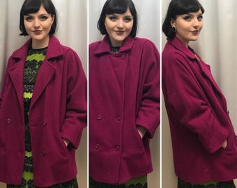 Vintage coat, 80s coat, size L, Pink Coat, 100% wool