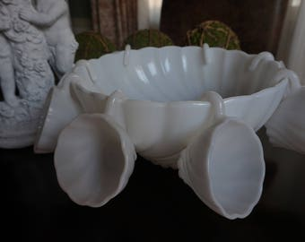 FREE SHIPPING, Milk Glass Punch Bowl Set with Eight Cups