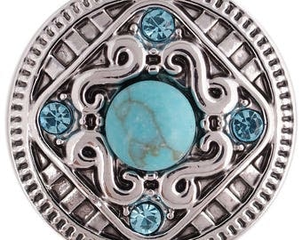 CZ Turquoise Stones ~ Snap It SKC5373  Jewelry Chunk Snap Popper 18mm 20mm Interchangeable snap