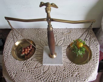 """Vintage Scale of Justice Balance Scale Brass Wood Marble """"USA""""."""