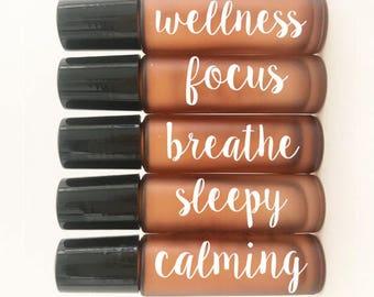 Basic Collection //wellness//focus//breathe//sleepy//calming//Essential oil labels for roller bottles( bottle not included)
